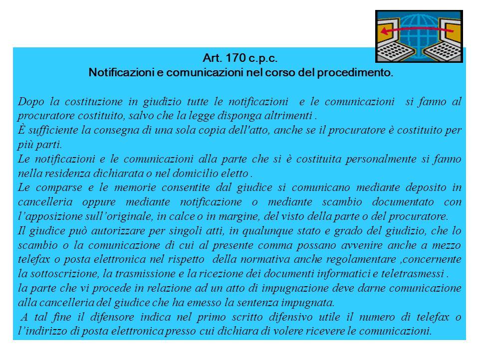 Notificazioni e comunicazioni nel corso del procedimento.