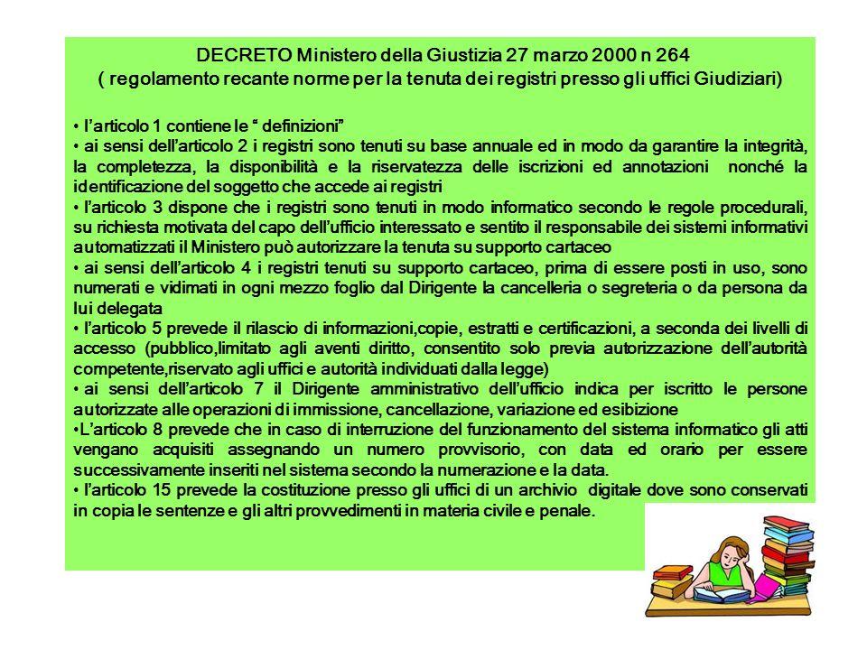 DECRETO Ministero della Giustizia 27 marzo 2000 n 264