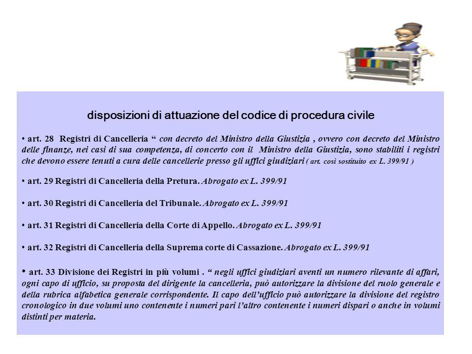 disposizioni di attuazione del codice di procedura civile