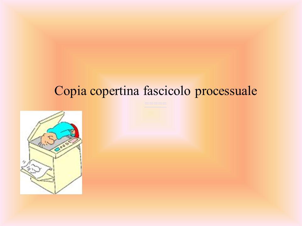 Copia copertina fascicolo processuale