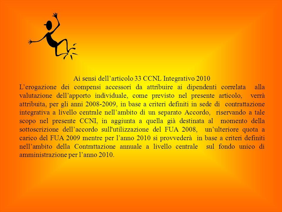 Ai sensi dell'articolo 33 CCNL Integrativo 2010