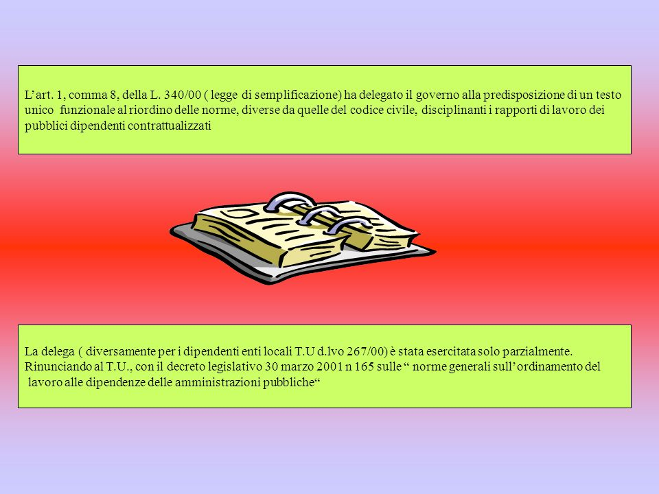 L'art. 1, comma 8, della L. 340/00 ( legge di semplificazione) ha delegato il governo alla predisposizione di un testo