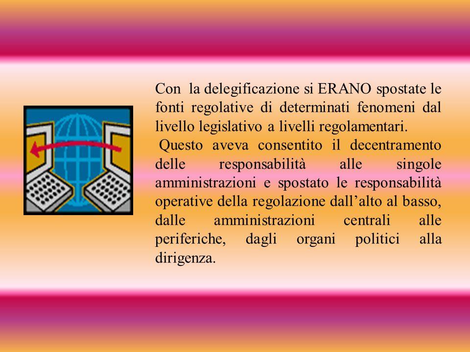 Con la delegificazione si ERANO spostate le fonti regolative di determinati fenomeni dal livello legislativo a livelli regolamentari.