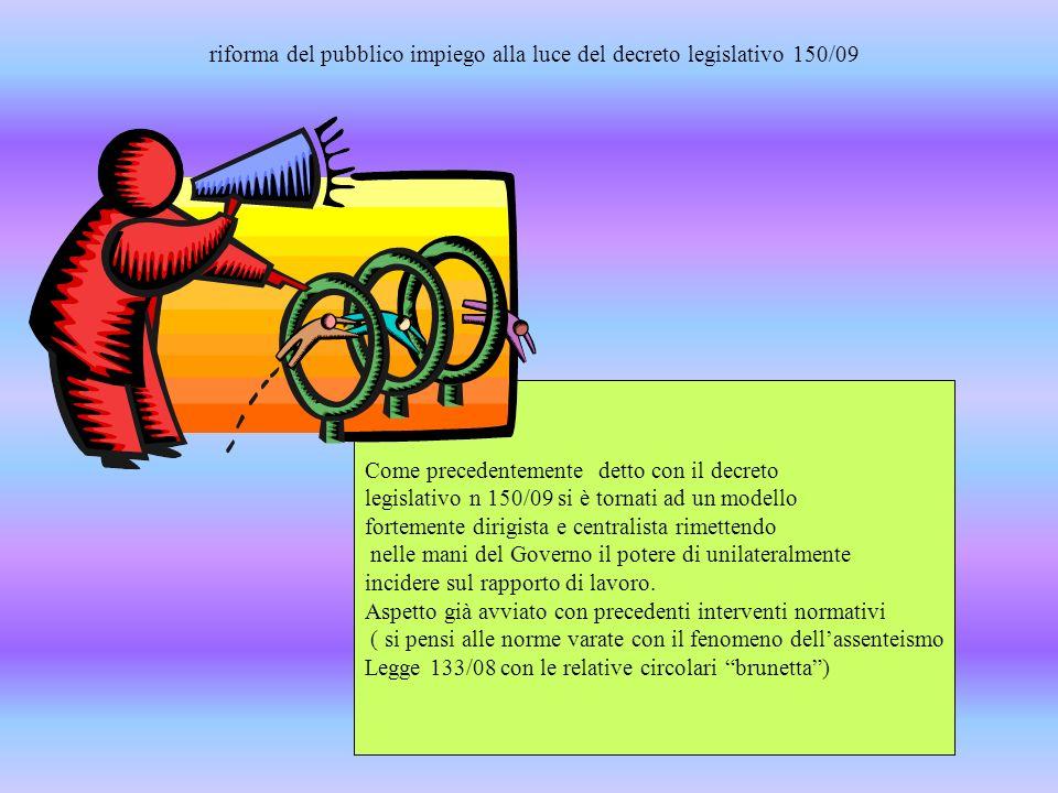 riforma del pubblico impiego alla luce del decreto legislativo 150/09