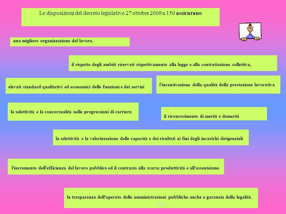 Le disposizioni del decreto legislativo 27 ottobre 2009 n 150 assicurano