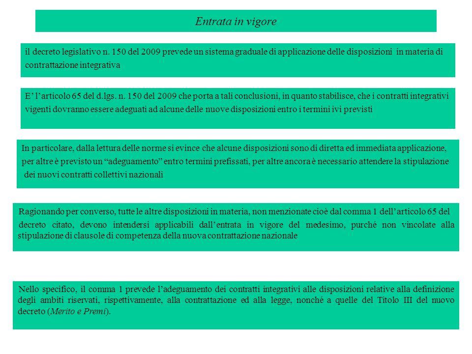 Entrata in vigoreil decreto legislativo n. 150 del 2009 prevede un sistema graduale di applicazione delle disposizioni in materia di.