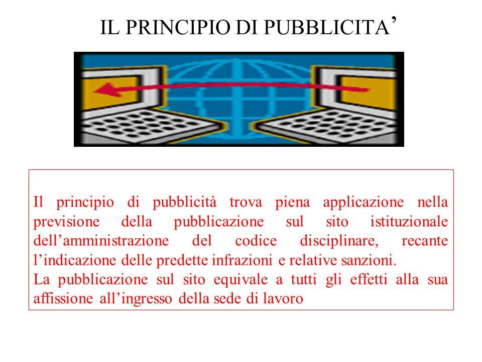 IL PRINCIPIO DI PUBBLICITA'