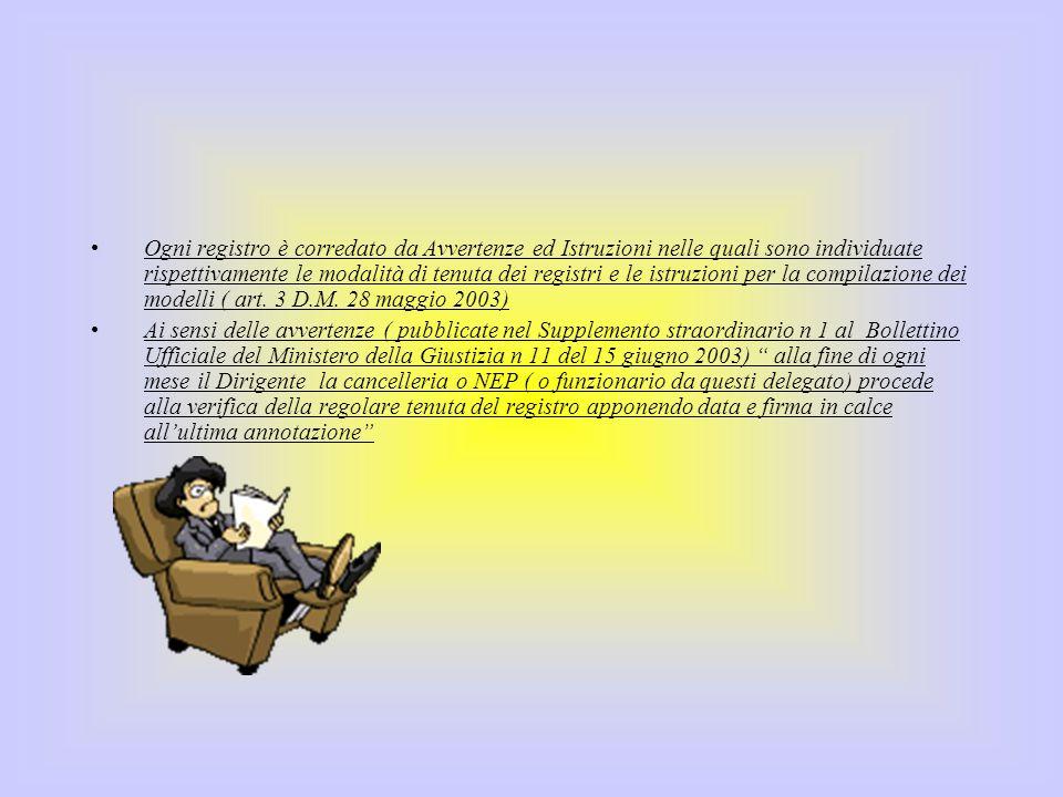 Ogni registro è corredato da Avvertenze ed Istruzioni nelle quali sono individuate rispettivamente le modalità di tenuta dei registri e le istruzioni per la compilazione dei modelli ( art. 3 D.M. 28 maggio 2003)