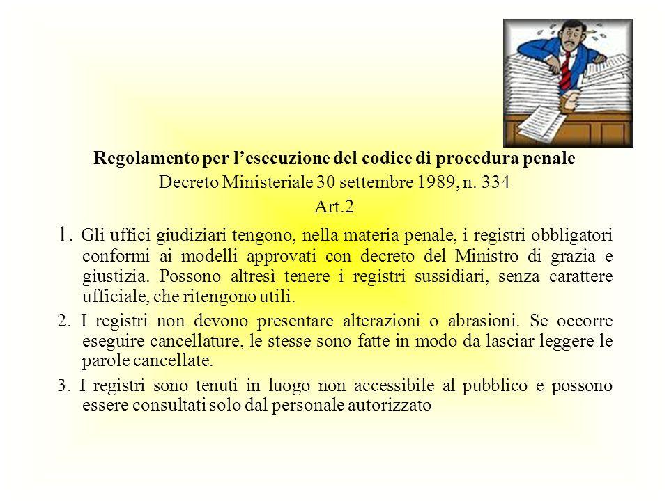 Regolamento per l'esecuzione del codice di procedura penale