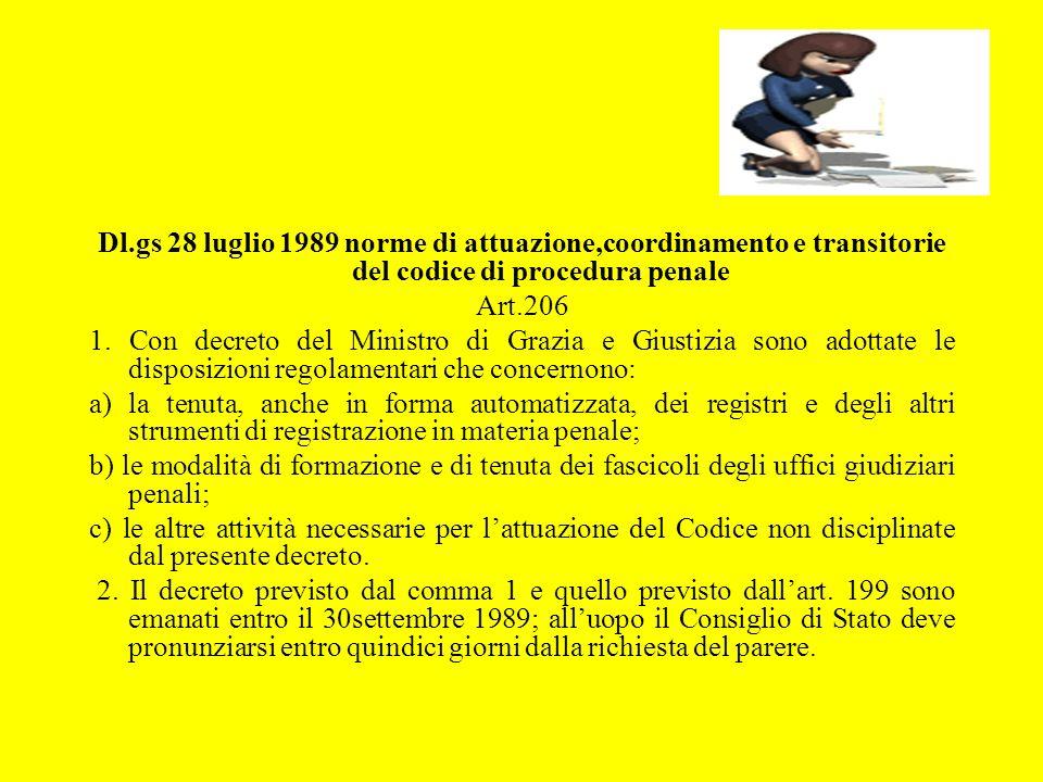 Dl.gs 28 luglio 1989 norme di attuazione,coordinamento e transitorie del codice di procedura penale