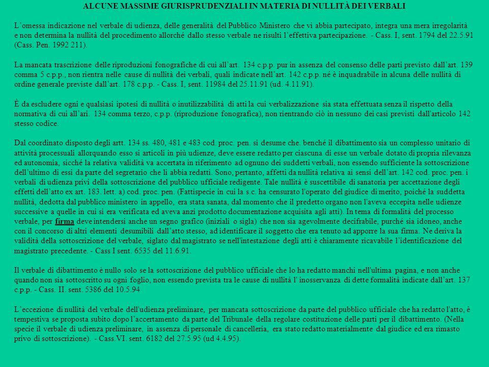 ALCUNE MASSIME GIURISPRUDENZIALI IN MATERIA DI NULLITÀ DEI VERBALI
