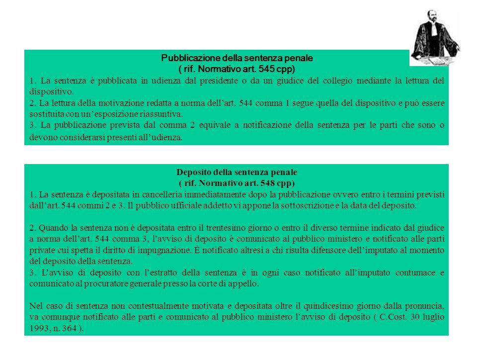 Pubblicazione della sentenza penale ( rif. Normativo art. 545 cpp)