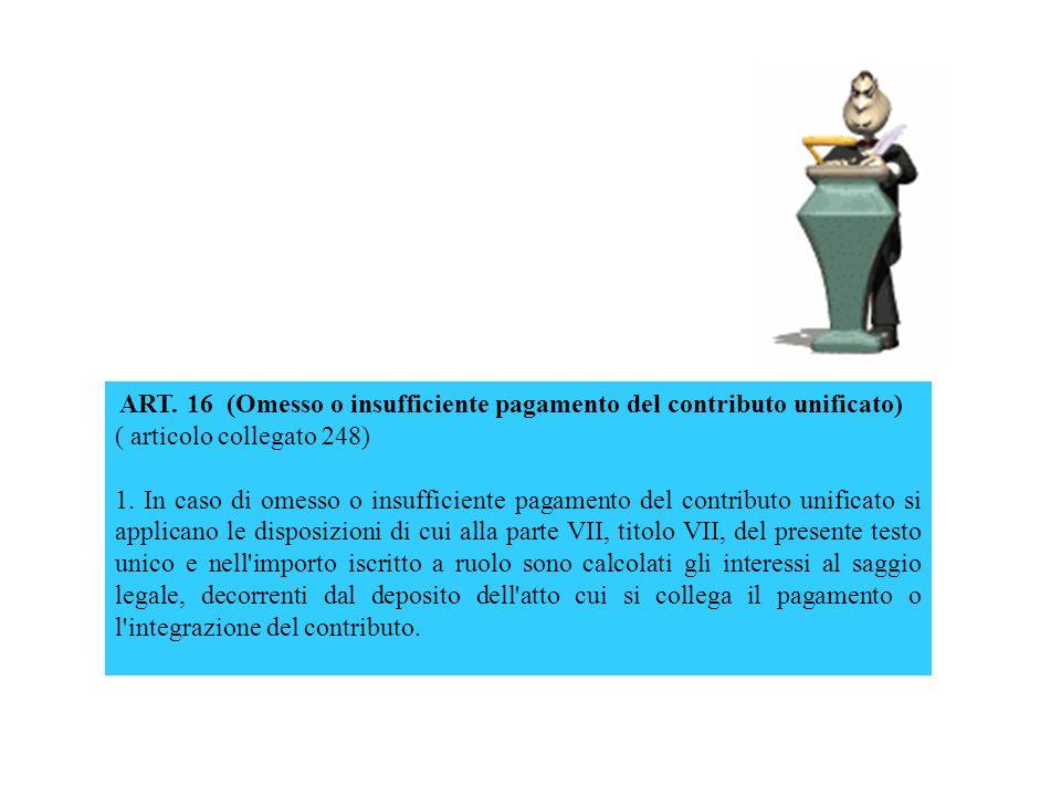 ART. 16 (Omesso o insufficiente pagamento del contributo unificato)