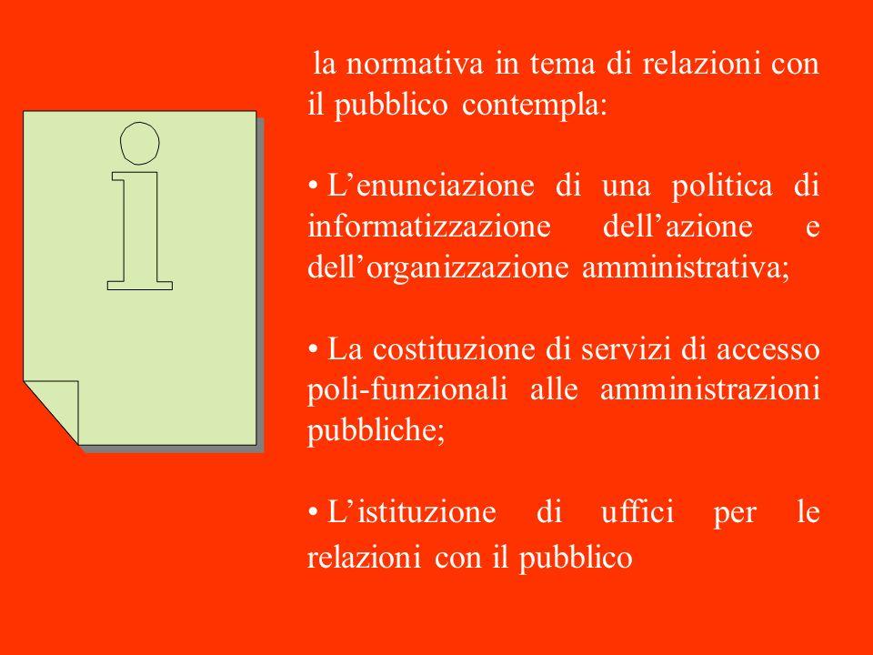 L'istituzione di uffici per le relazioni con il pubblico