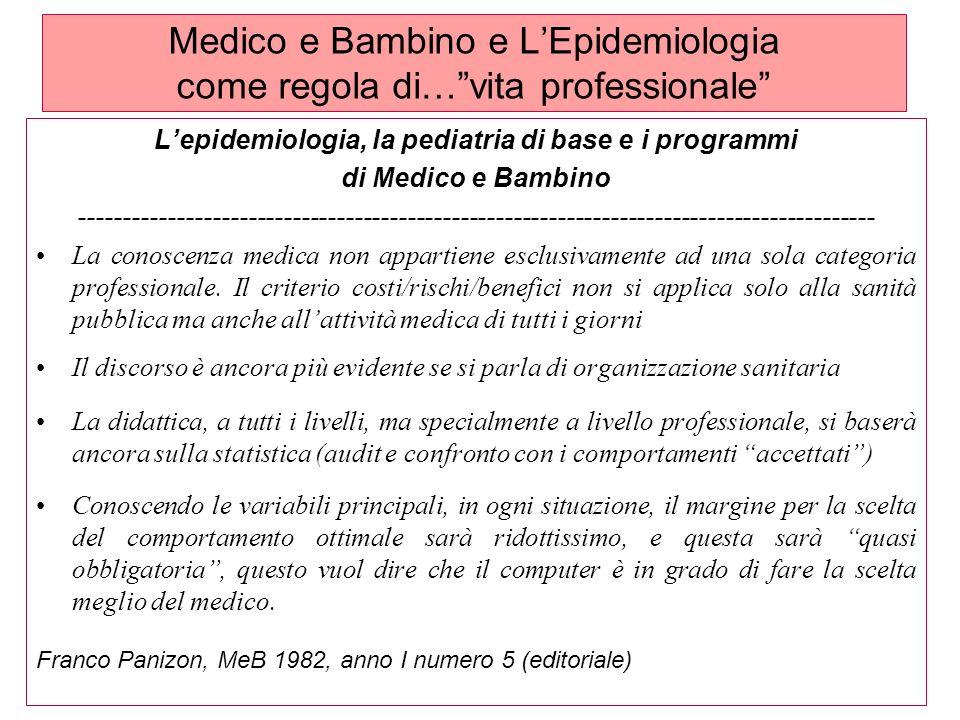 Medico e Bambino e L'Epidemiologia come regola di… vita professionale