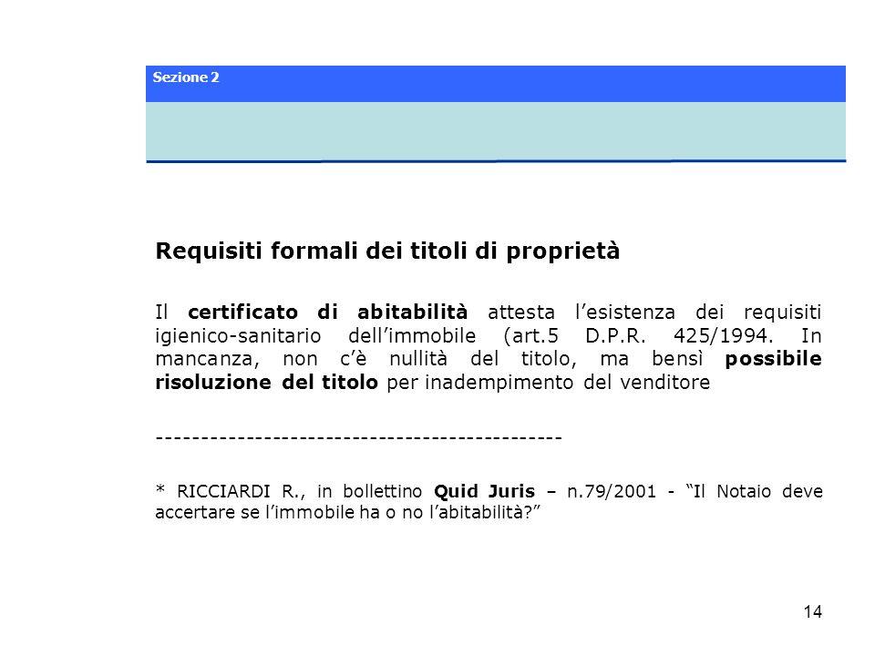 Requisiti formali dei titoli di proprietà