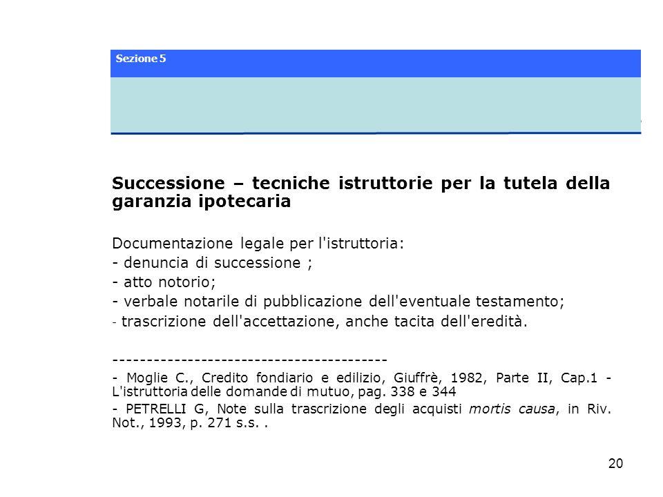 Sezione 5 Successione – tecniche istruttorie per la tutela della garanzia ipotecaria. Documentazione legale per l istruttoria: