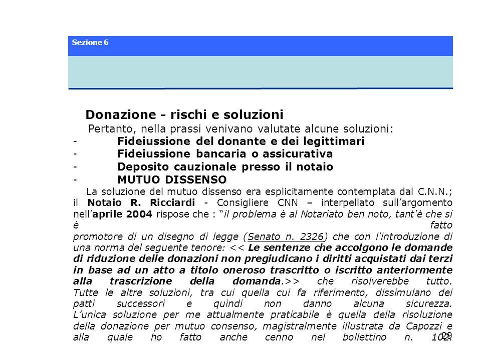 Donazione - rischi e soluzioni