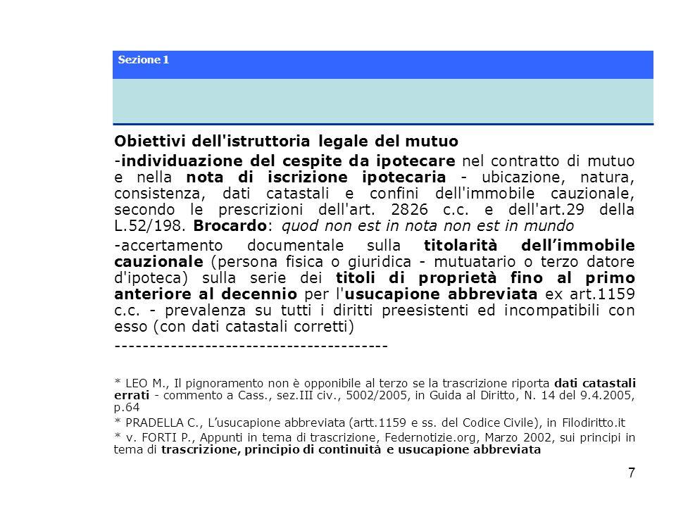 Obiettivi dell istruttoria legale del mutuo