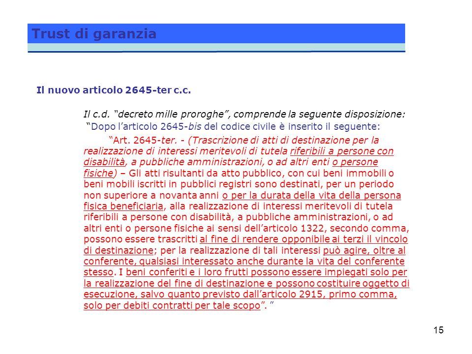 Trust di garanzia Il nuovo articolo 2645-ter c.c.