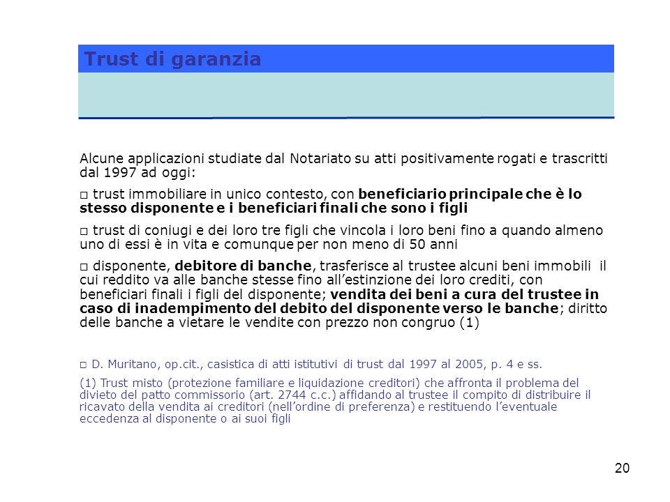 Trust di garanzia Alcune applicazioni studiate dal Notariato su atti positivamente rogati e trascritti dal 1997 ad oggi: