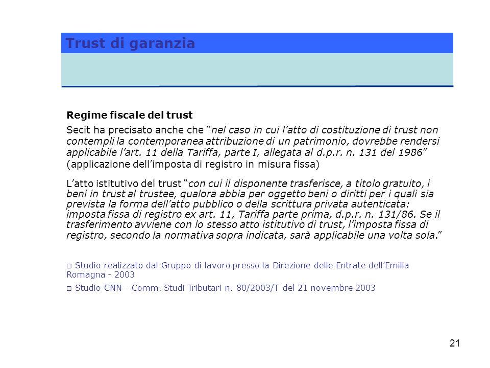 Trust di garanzia Regime fiscale del trust