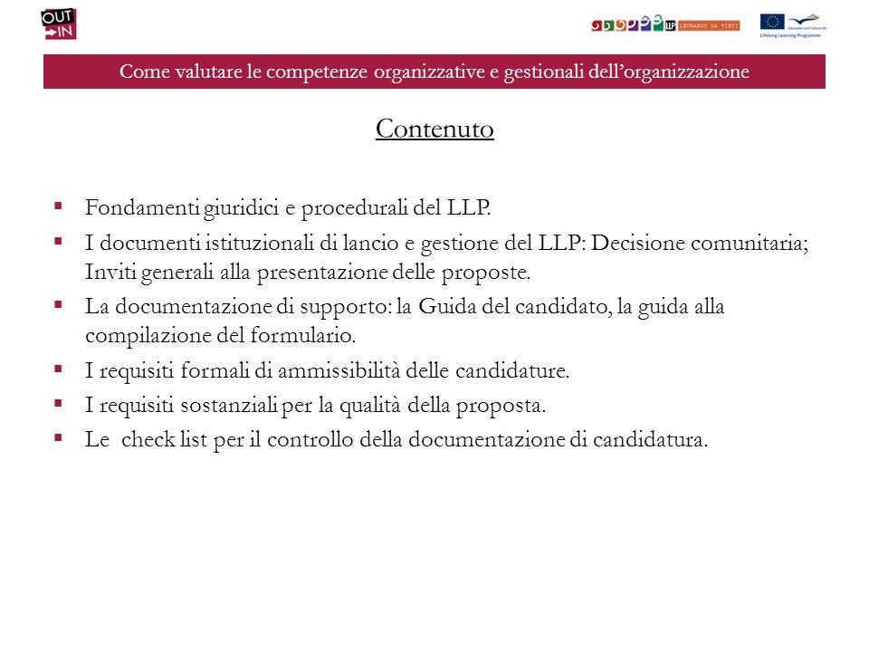 Contenuto Fondamenti giuridici e procedurali del LLP.