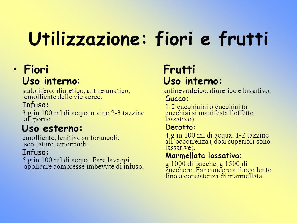 Utilizzazione: fiori e frutti