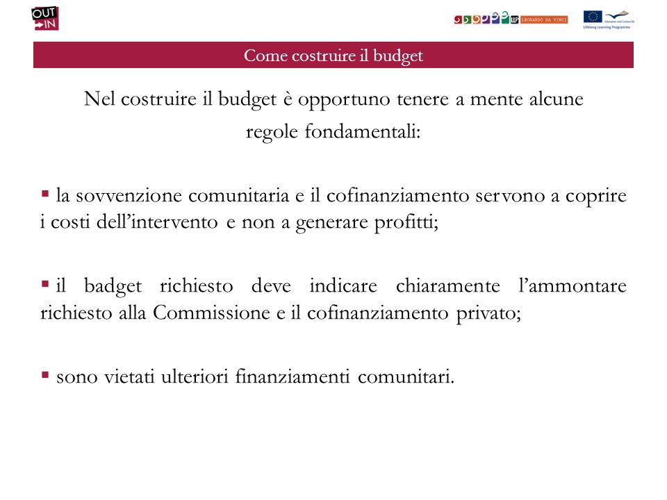 Come costruire il budget
