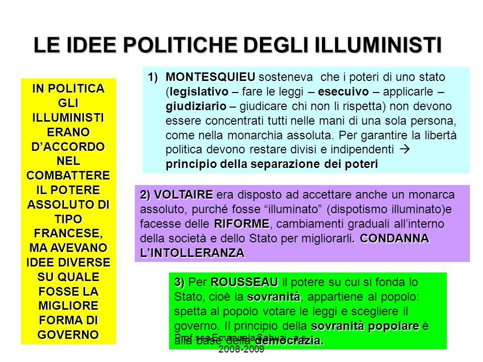 LE IDEE POLITICHE DEGLI ILLUMINISTI