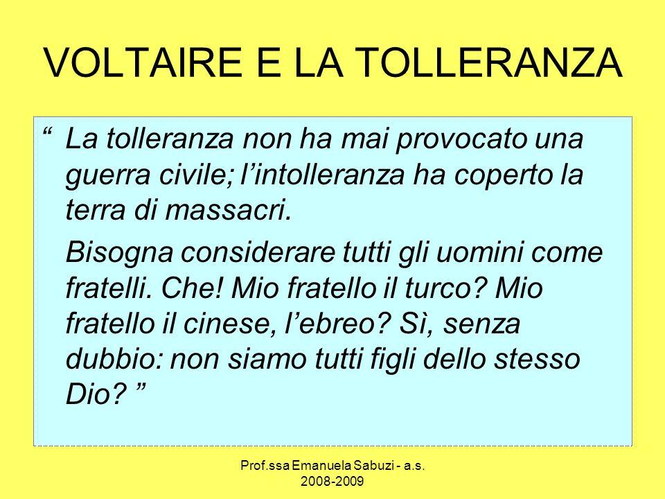 VOLTAIRE E LA TOLLERANZA