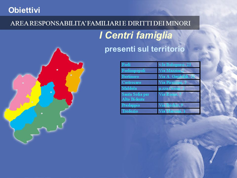 I Centri famiglia Obiettivi presenti sul territorio