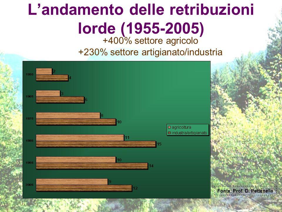 L'andamento delle retribuzioni lorde (1955-2005)