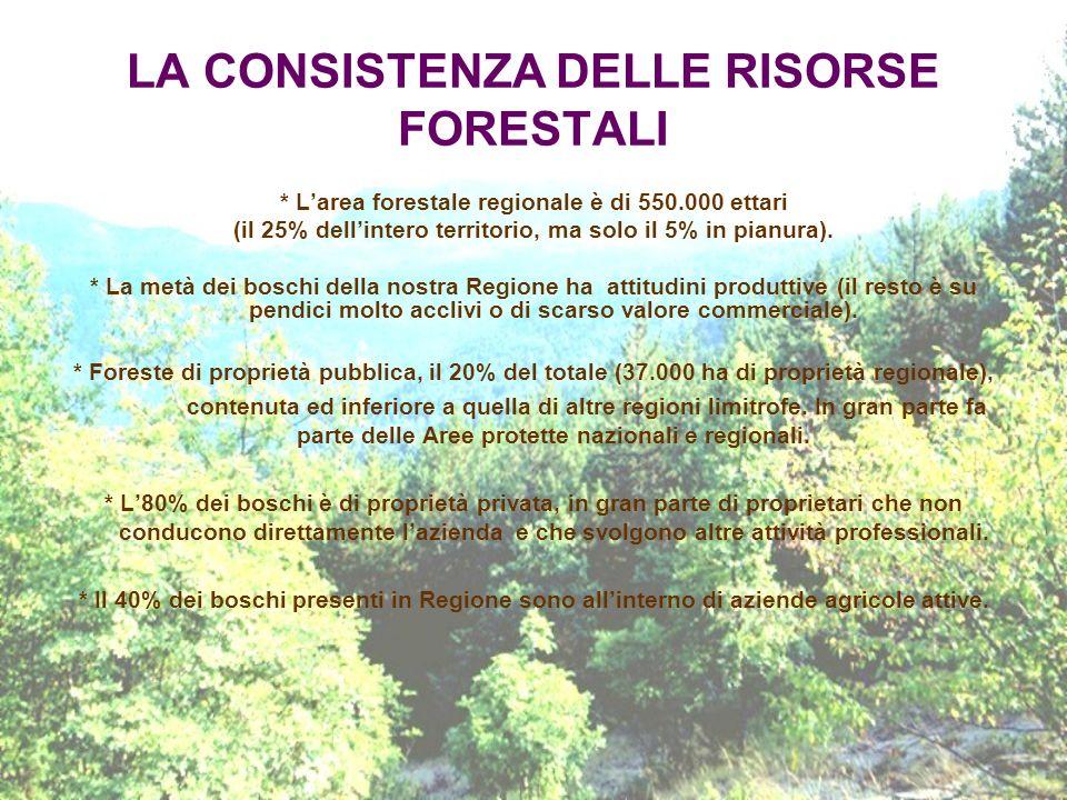 LA CONSISTENZA DELLE RISORSE FORESTALI