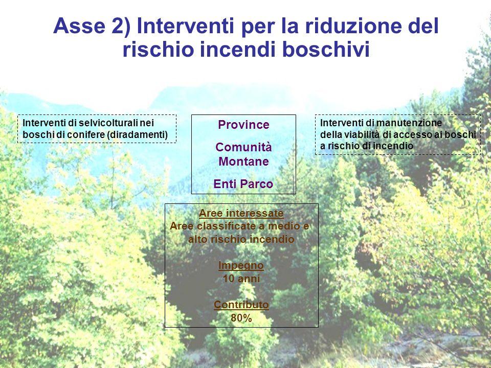Asse 2) Interventi per la riduzione del rischio incendi boschivi