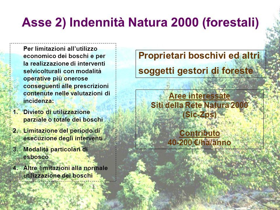 Asse 2) Indennità Natura 2000 (forestali)
