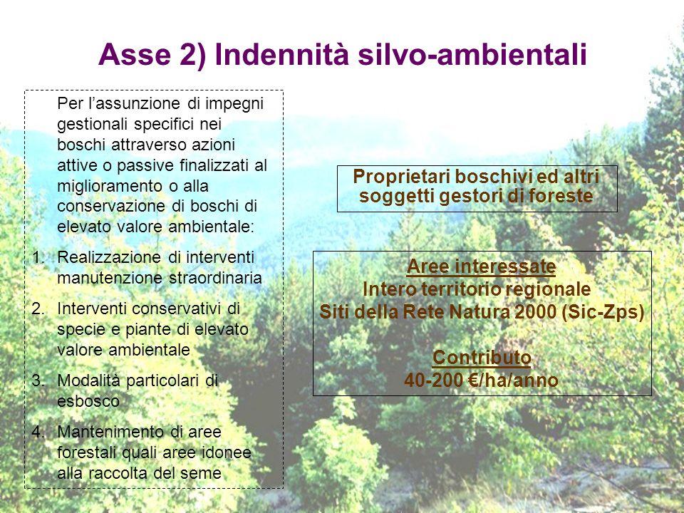 Asse 2) Indennità silvo-ambientali
