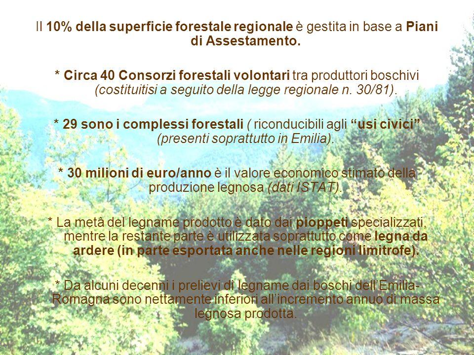 Il 10% della superficie forestale regionale è gestita in base a Piani di Assestamento.