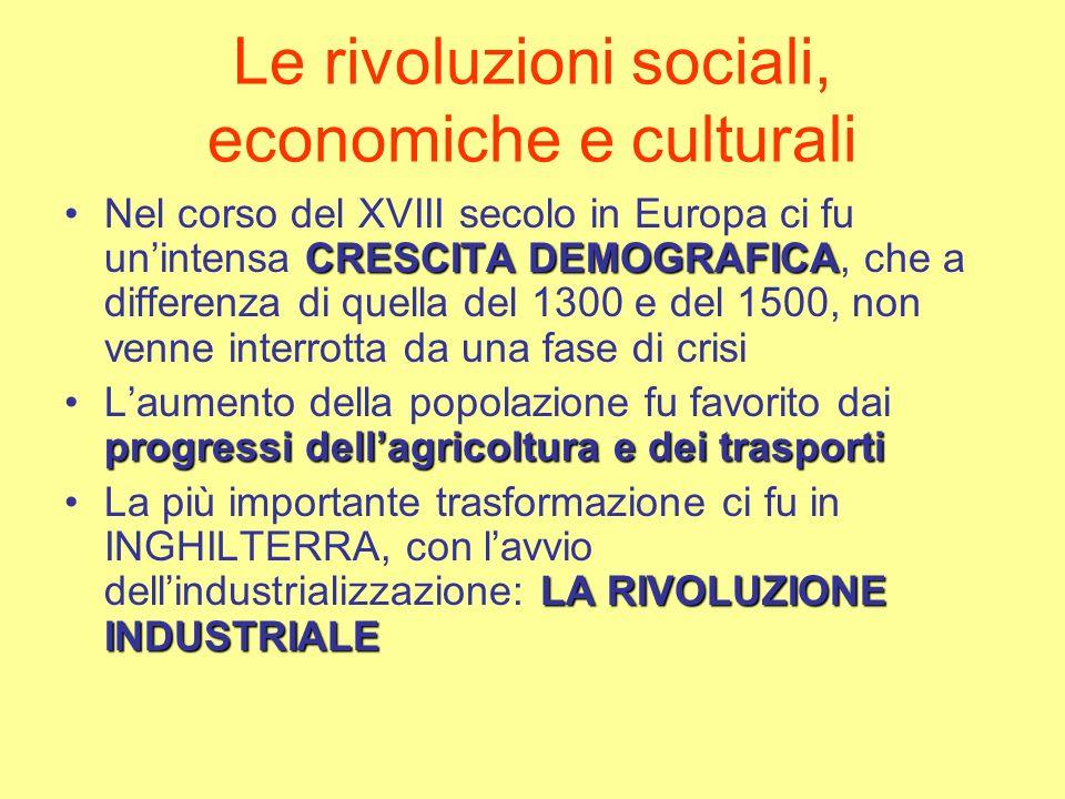 Le rivoluzioni sociali, economiche e culturali