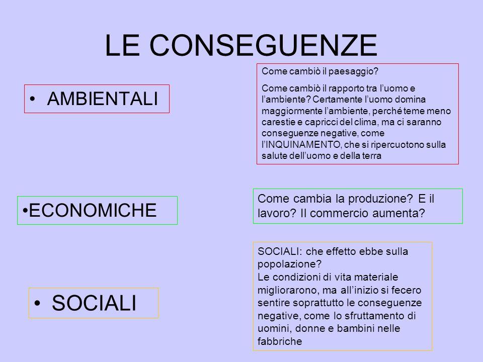 LE CONSEGUENZE SOCIALI AMBIENTALI ECONOMICHE