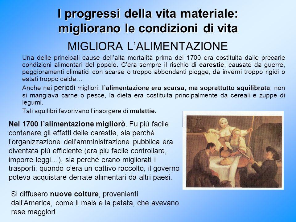 I progressi della vita materiale: migliorano le condizioni di vita