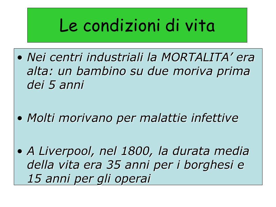 Le condizioni di vita Nei centri industriali la MORTALITA' era alta: un bambino su due moriva prima dei 5 anni.