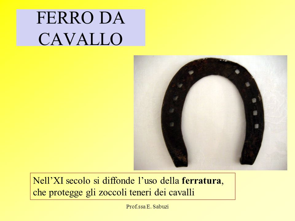 FERRO DA CAVALLONell'XI secolo si diffonde l'uso della ferratura, che protegge gli zoccoli teneri dei cavalli.