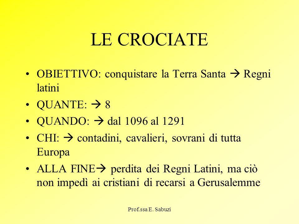 LE CROCIATE OBIETTIVO: conquistare la Terra Santa  Regni latini