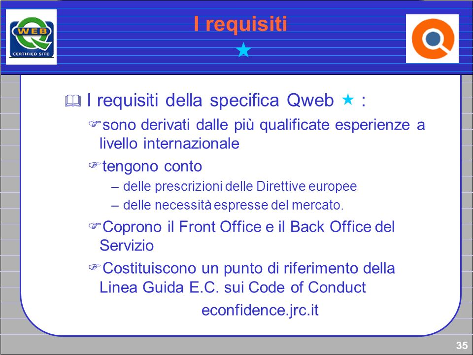 I requisiti  I requisiti della specifica Qweb  :