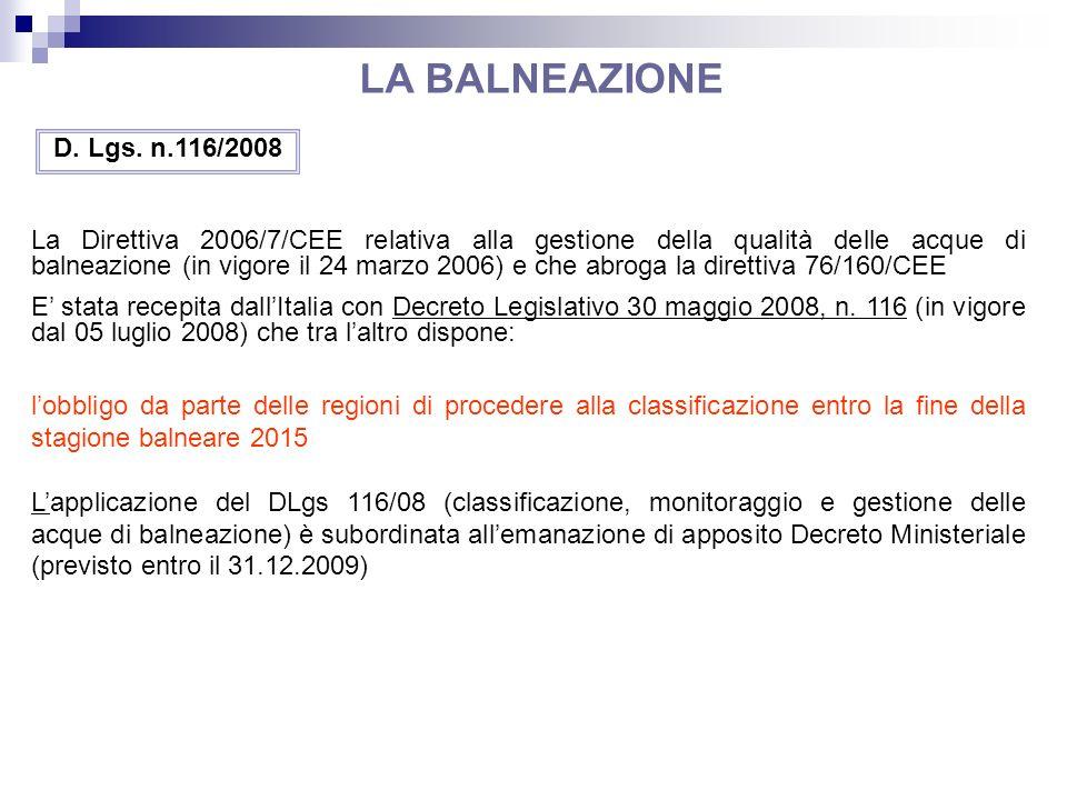 LA BALNEAZIONE D. Lgs. n.116/2008.