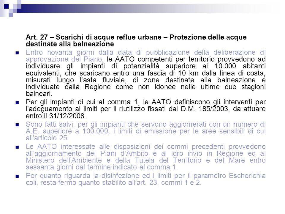 Art. 27 – Scarichi di acque reflue urbane – Protezione delle acque destinate alla balneazione