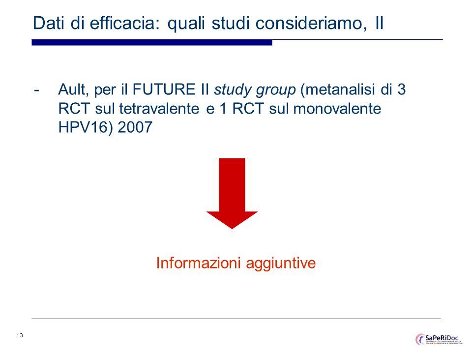 Dati di efficacia: quali studi consideriamo, II