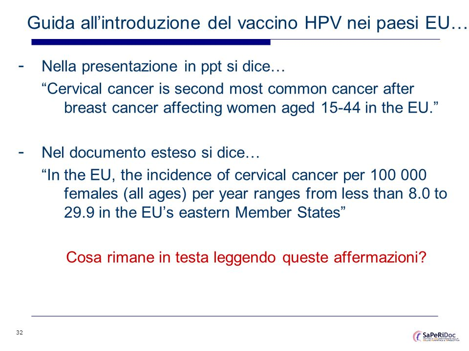 Guida all'introduzione del vaccino HPV nei paesi EU…