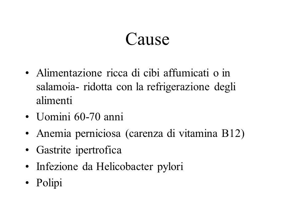 Cause Alimentazione ricca di cibi affumicati o in salamoia- ridotta con la refrigerazione degli alimenti.